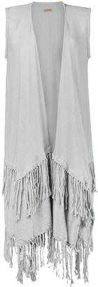 CARAVANA Layered Fringed Open Vest