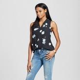Mossimo Women's Floral Pattern Sleeveless V-Neck Blouse Black