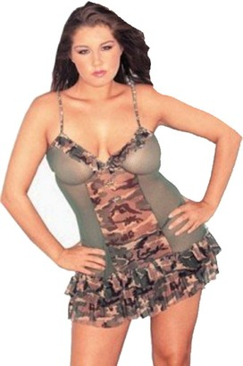 Raveware Lingerie Women's Plus Size Sexy Camouflage Powermesh Lingerie Set with Thong 1X