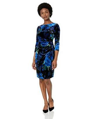 Jessica Howard Women's Petite Three Quarter Sleeve Side Tuck Sheath Velvet Dress