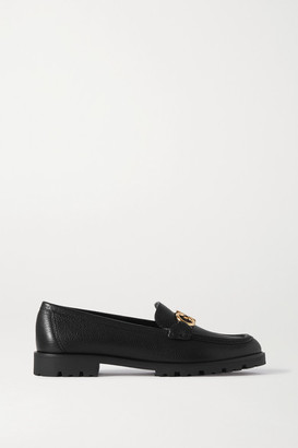 Salvatore Ferragamo Rolo Embellished Textured-leather Loafers - Black