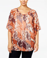 Style&Co. Style & Co. Plus Size Printed Pintuck Blouse, Only at Macy's