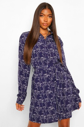 boohoo Tall Abstract Face Print Shirt Dress