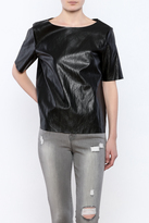 FRNCH Black Faux Leather Tee