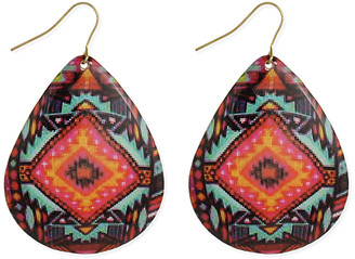 Zad ZAD Women's Earrings - Black & Pink Southwest Blanket-Inspired Teardrop Earrings