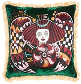 La DoubleJ Artemis Verde Large Embroidered Velvet Cushion - Black Print