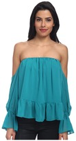T-Bags LosAngeles Tbags Los Angeles Chiffon Ruffled Top with Cutout