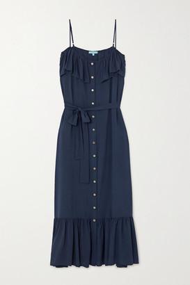 Melissa Odabash Kyla Belted Ruffled Woven Maxi Dress - Navy