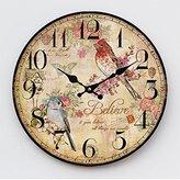 Damjic European Garden Silent Watch The Mediterranean Living Room Wall Clock 34CM