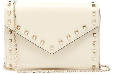 Valentino Rockstud Leather Envelope Clutch - Womens - Ivory