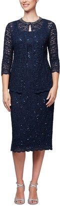 Alex Evenings Women's Plus-Size Midi Length Jacket Shift Dress