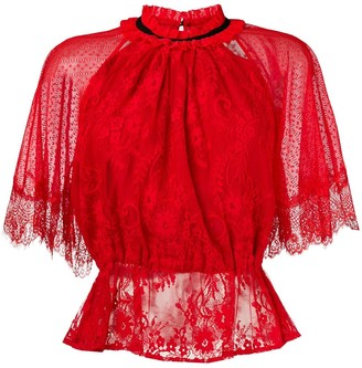 Three floor lace patterned blouse
