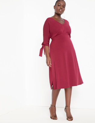 ELOQUII Fit and Flare Dress with Tie Sleeves