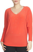 Chaus Dolman Sleeve Embellished V-Neck Top