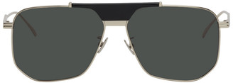 Bottega Veneta Silver and Green Aviator Sunglasses