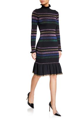 Shoshanna Evette Metallic Stripe Long-Sleeve Turtleneck Dress