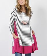 42pops 42POPS Women's Tunics Magenta - Magenta Stripe Contrast-Panel Side-Pocket Swing Tunic - Women