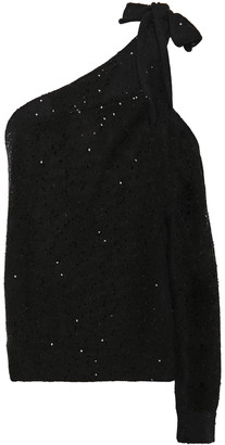 Brunello Cucinelli One-shoulder Cutout Sequin-embellished Linen And Silk-blend Top