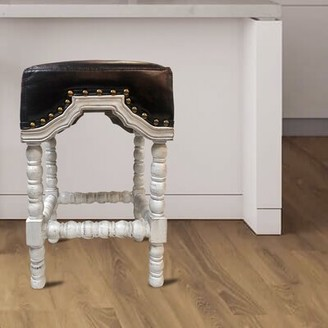 """Penwell 26"""" Counter Stool Bloomsbury Market Upholstery: Leather - Brown, Color: White"""