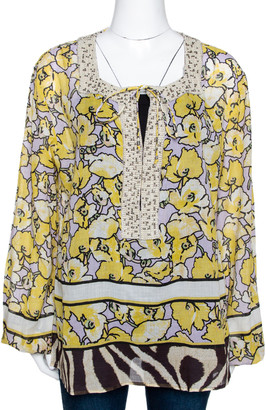 Roberto Cavalli Yellow Printed Cotton Bead Embellished Top L