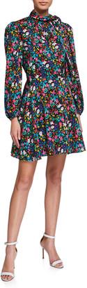Milly Adele Garden Floral Print Tie-Neck Stretch Silk Dress