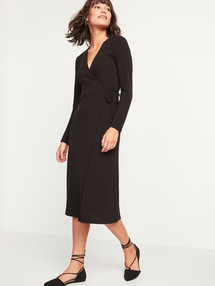 Old Navy Rib-Knit Midi Fit & Flare Wrap Dress for Women