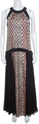 Philosophy di Alberta Ferretti Philosophy Multicolor Snakeskin Printed Silk Pleat Detail Sleeveless Maxi Dress S
