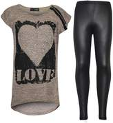 a2z4kids Kids Girls LOVE Printed Top & Stylish Fashion Wetlook Legging Set Age 7-13 Years