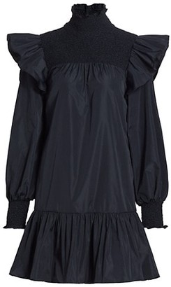 Cinq à Sept Taffeta Flounce Hem Shift Dress