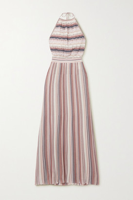 Missoni Metallic Striped Crochet-knit Halterneck Maxi Dress - Pink