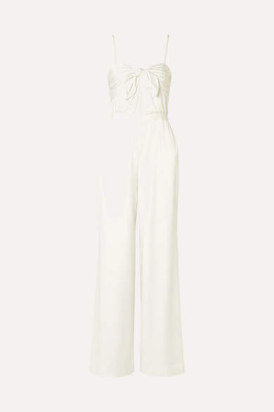 Rachel Zoe Bridgette Bow-embellished Satin-crepe Jumpsuit - White