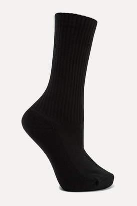 Balenciaga Ribbed Intarsia Cotton-blend Socks - Black
