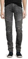 True Religion Rocco Distressed Moto Skinny Jeans, Dark Raven