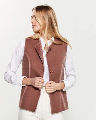 Tandem Button Front Faux Fur-Trimmed Faux Suede Vest