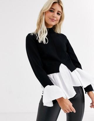 New Look undershirt detail jumper in black