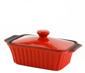 """Gibson Denhoff 8.5"""" Non-Stick Ribbed Casserole with Lid"""