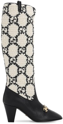 Gucci 75mm Zumi Gg Boucle & Leather Tall Boots
