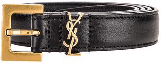 Saint Laurent Logo Leather Belt in Black | FWRD