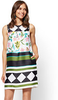 New York & Co. Mixed-Print Sleeveless Shift Dress