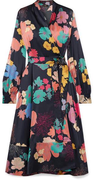 Stine Goya Reflection Floral-print Silk-blend Charmeuse Wrap Dress - Black