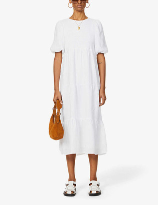 Faithfull The Brand Alberte puffed-sleeve linen midi dress