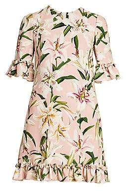 Dolce & Gabbana Women's Floral Print Ruffle Trim Dress