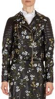 Erdem Frazey Floral-Embroidered Leather Biker Jacket, Black/Multi
