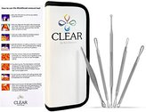 Clear Blackhead and Blemish Remover Tool Kit with Hygiene Instructions! Esthetician Skin Care Extractor Set * Cure Pimples, Blackheads, Comedones, Acne, and Facial Impurities - Professional Surgical Quality Instruments