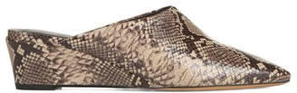 Vince Baxley Snakeskin-Embossed Leather Wedge Mules
