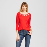 Simply by Love Scarlett Women's 3/4 Sleeve Top with Keyhole Neck Detail