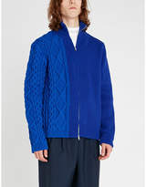 Maison Margiela Cable-knit panel zipped wool-blend jumper