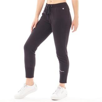 Champion Womens Logo Cuffed Sweat Pants Black
