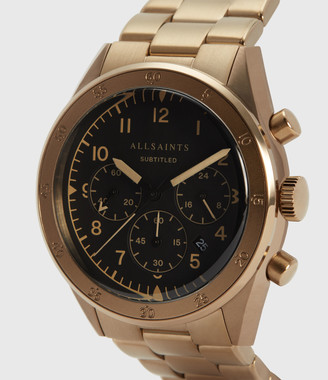 AllSaints Subtitled VI Khaki Stainless Steel Watch