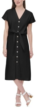 Calvin Klein Tie-Waist Linen Dress